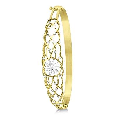 f8adc9c7e6e22 Amazon.com: 14k Two Tone Gold Diamond-Cut Starburst Bangle Bracelet ...