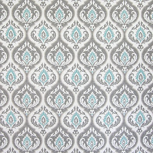 Stone Harbor Blue Gray Teal Floral Medallion Print Cotton Upholstery Fabric by the yard