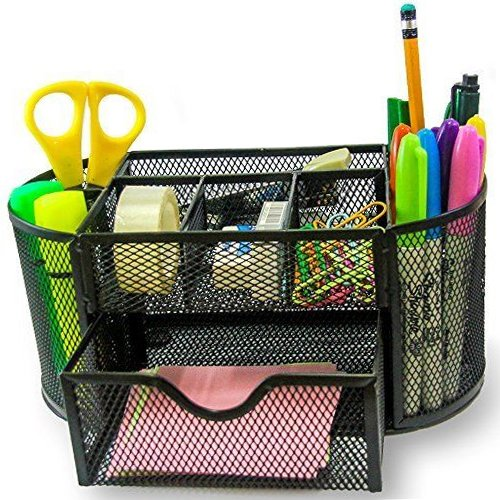 Supply Caddy - Can Hold ALL Office Accessories. Elegant 8 Compartments Black Mesh Desk Organizer With a Large Tray -  For Home,  School, Office, &  College