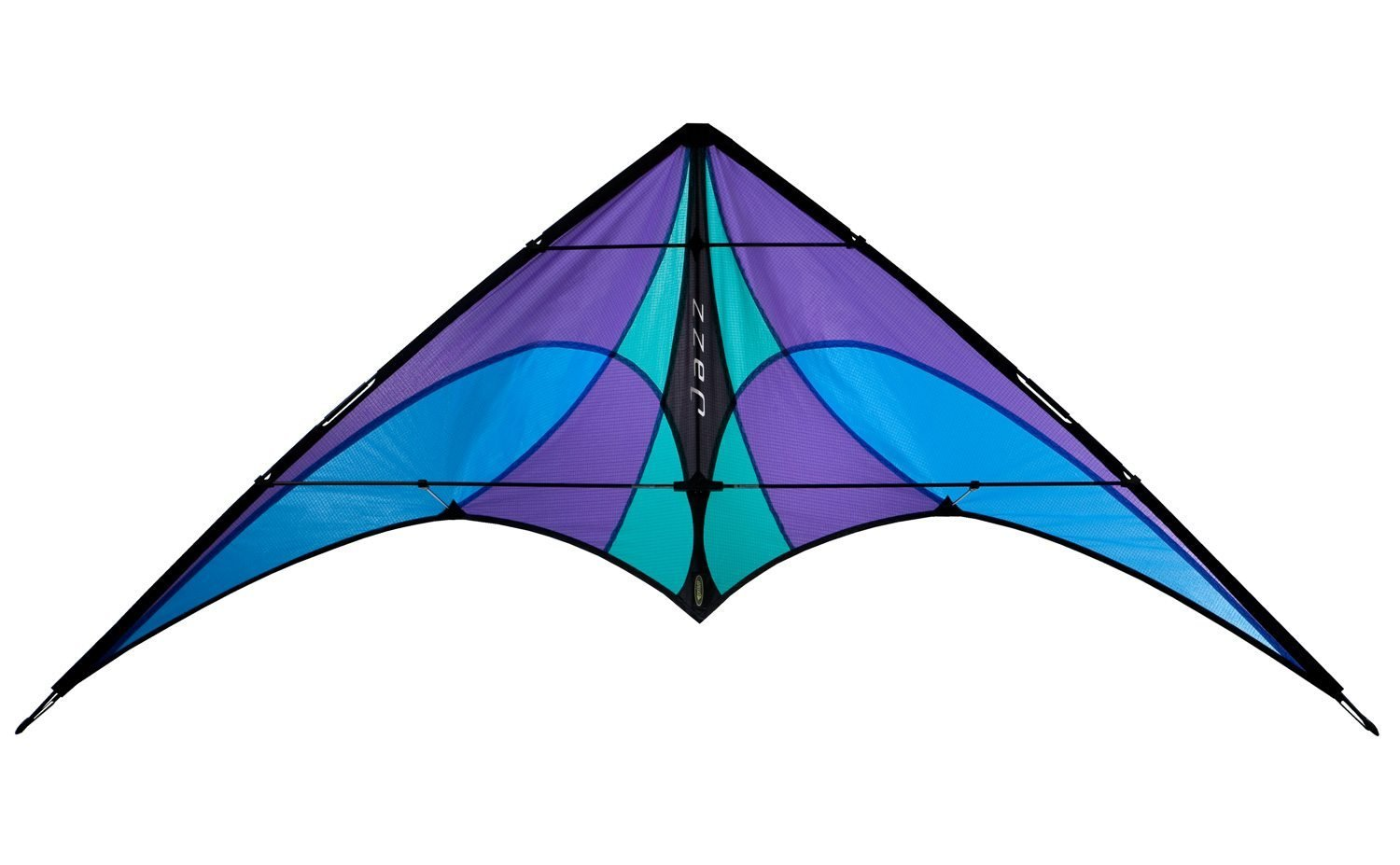 Prism Jazz Dual Line Delta Framed Stunt Kite with 40' Tail Bundle (3 Items) + Prism 40ft Nylon Ripstop Streamer Tail + WindBone Kiteboarding Lifestyle Stickers + Key Fob (Ice)