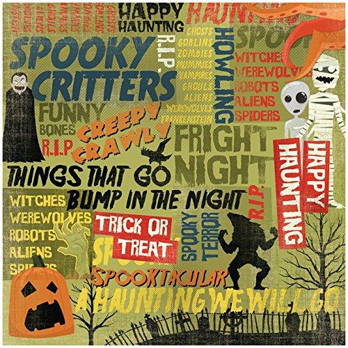 KAREN FOSTER Design Scrapbooking Paper, 25 Sheets, Happy Haunting Collage, 12 x (Halloween Collage Sheet)