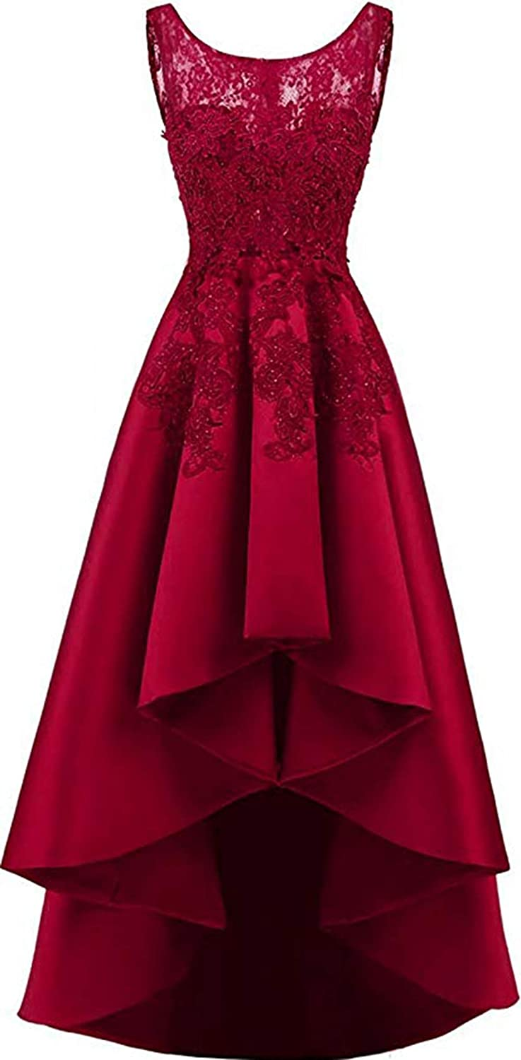 Burgundy Rmaytiked Womens Lace Beading Hilo Wedding Party Dress Satin Prom Dress 2019 Evening Formal Gowns