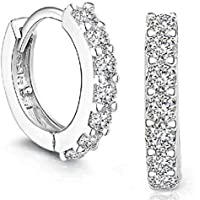 clearance, Platinum Filled sterling silver with Diamond Sparkly Crystal Hoop Earrings for Women One Pairs Earrings (Silver)
