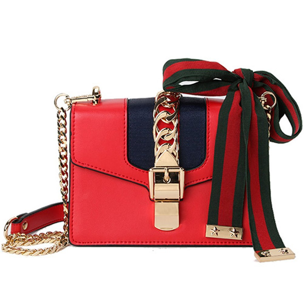 Macton cowskin Genuine Leather Women cross body bag MC-9008 (Small Size 7.8'', Red)
