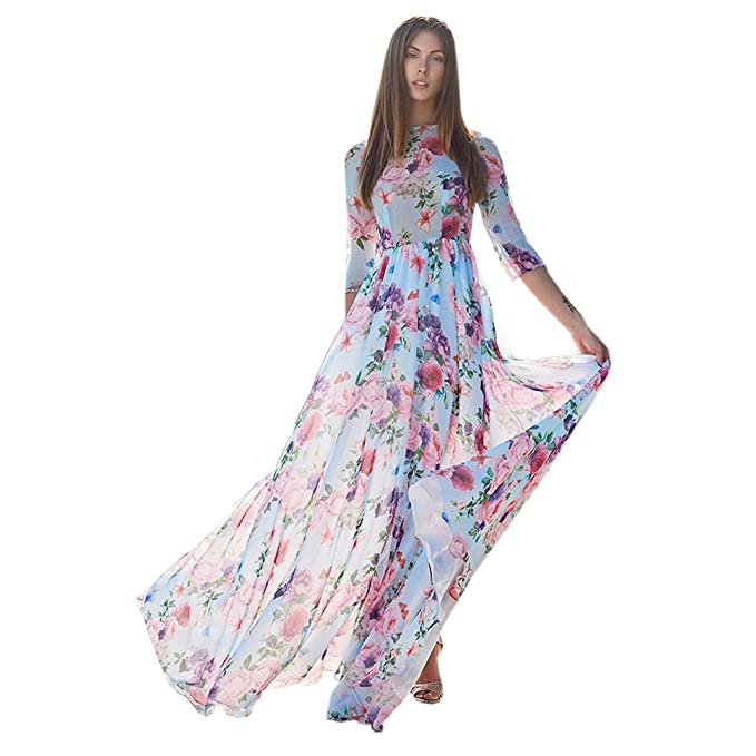 ALIKEEY Womens Floral Impresion Manga Tres Cuartos Noche Fiesta Beach Long Maxi Dress Deportivas Piratas Vestidos