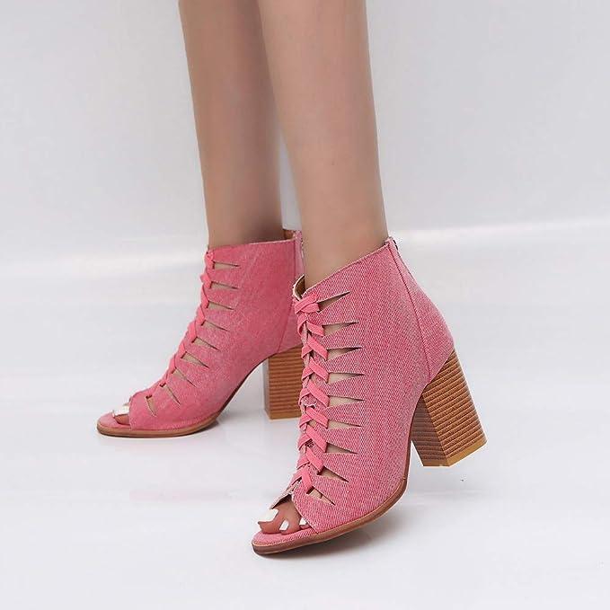 Rcool Zapatos de tacón zapatos de tacón alto mujer zapatos de tacón transparentes,Mujer Señoras Otoño Denim Peces Boca Hueco hacia fuera Botas cortas ...