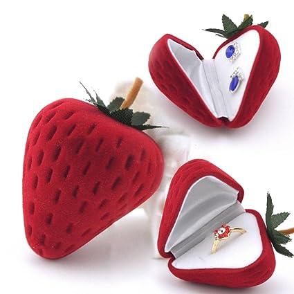 prelikes fresa forma anillo de terciopelo caja de almacenamiento joyas pendientes pantalla nieve caja regalo