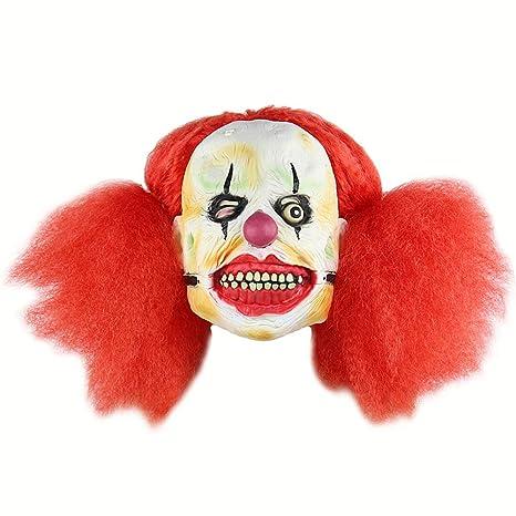 Máscara De Halloween Cosplay Fiesta Scary Red Big Braid Payaso ...