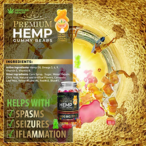 Natural Hemp Gummies 3000MG - 50MG Per Fruity Gummy Bear with Full Spectrum Hemp Extract   Natural Candy Supplements for Pain, Anxiety, Stress & Inflammation Relief   Promotes Sleep & Calm Mood by Hawaiian health (Image #7)