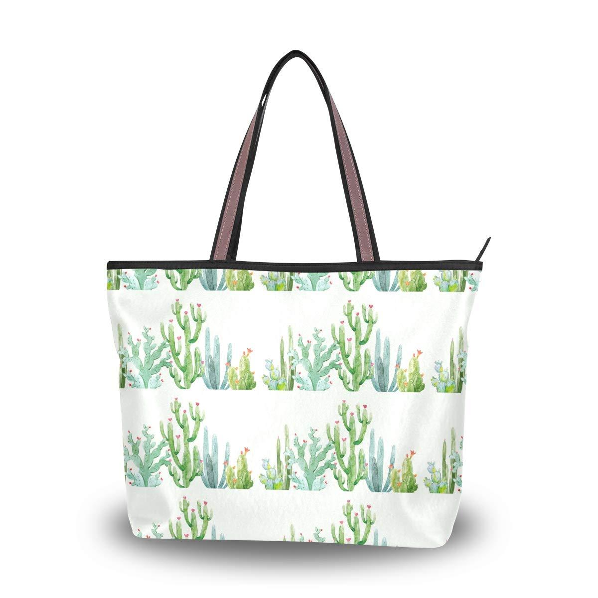 Women Handle Watercolor Cactus Composition Satchel Handbags Tote Purse Shoulder Bag Big Capacity Handbag