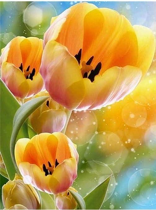 5D Diy Diamante Pintura Tulipanes Flor Flor Bordado Imagen Mosaico ...