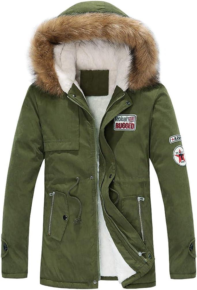 Zopkly Parka Men Coats Winter Jacket Men Slim Thicken Fur Hooded Outwear Warm Coat