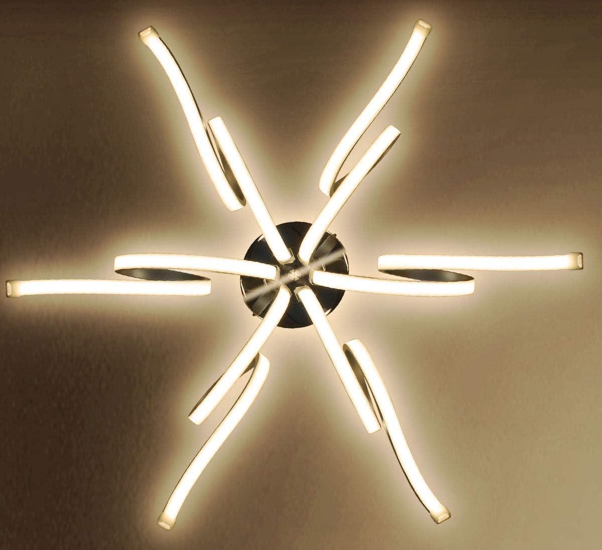 Dimmable XL LED plafonnier lampe lumi/ère lustre salon de luxe 6 bras blanc chaud forme spirale noble moderne 62cm Lewima VIBRANA