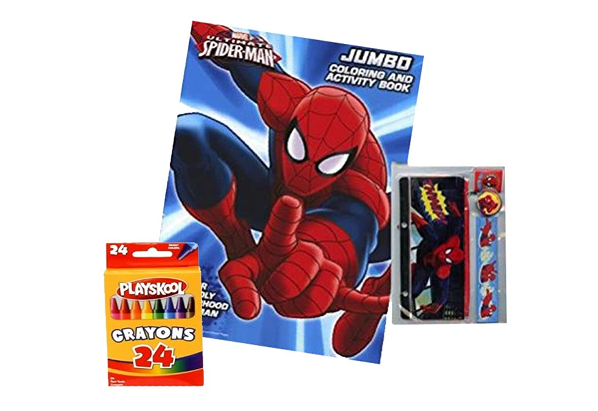 Stationary set and 24 pk of PLAYSKOOL Crayons! Spiderman Black//Red Kids Character Backpack and Activity Set!.... Stationary set and 24 pk of PLAYSKOOL Crayons Coloring Book