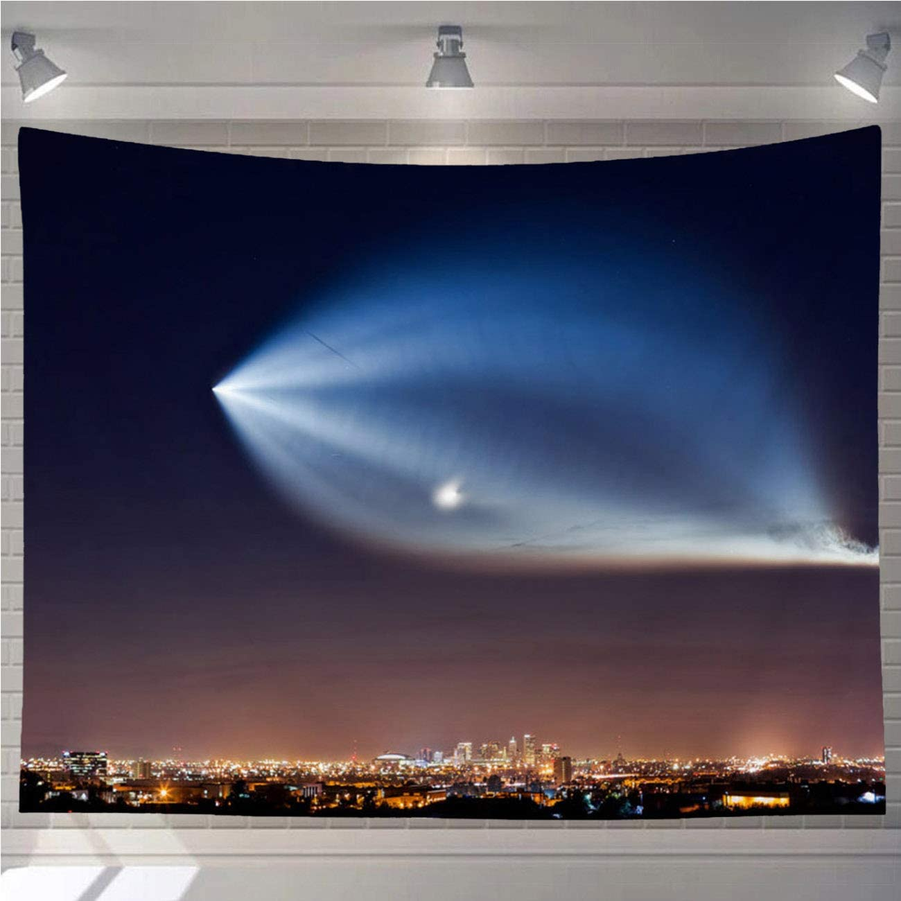 OTTOSUN Space Tapestry Wall Hanging,SpaceX Falcon 9 Rocket Launch Over The Downtown Phoenix Skyline,Wall Art for Living Room Bedroom Home Decor,90x70 in