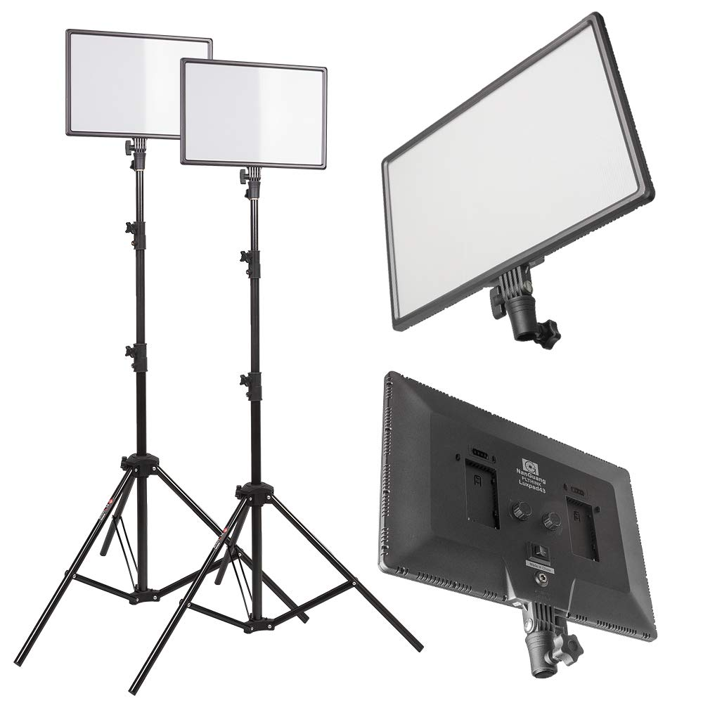 PLTHINK Luxpad 43H 15'' Bi-Color 3200K-5600K LED Lighting and PRO-203 Stand Set for YouTube Creator, Beauty Makeup, Live Streaming, Portrait Shooting, and Various Video Shooting(2 Stand Set)