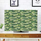 iPrint LCD TV dust Cover Strong Durability,Palm Leaf,Jungle Raincompatibleest Pattern Hand Drawn Green Foliage Lush Decorative,Green Pistachio Green Apple Green,Picture Print Design Compatible 47'' TV