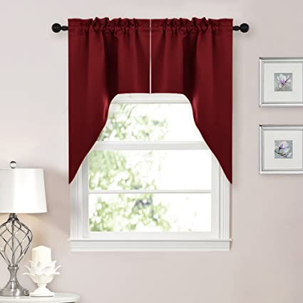 Beautiful NICETOWN Half Window Kitchen Tier Curtains  Tailored Scalloped Valance/Swags  For Living Room (