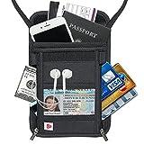 AIKELIDA RFID Blocking Passport Holder Neck Stash Pouch Security Travel Wallet