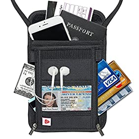 AIKELIDA RFID Blocking Passport Holder Neck Stash Pouch Security Travel Wallet