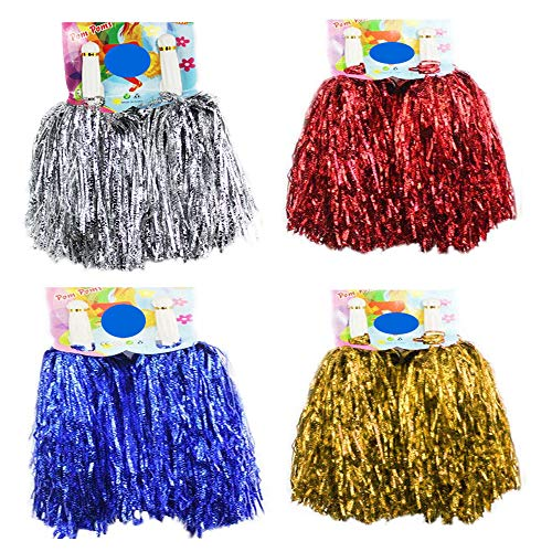 CRIVERS 8pc Cheerleader Pompoms for Ball Dance Fancy Dress Night Party Sports (mixed-50g) -