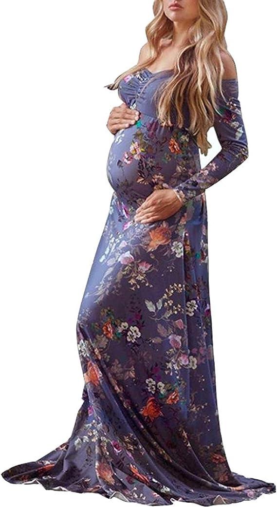 Vestido de Maternidad con Falda Larga-Estampado de Mujer ...