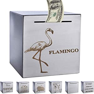 ZSYKD Safe Flamingo Piggy Bank for Adults,Boys,Girl, Made of Stainless Stell, Safe Box Money Savings Bank for Lover,Thanks Giving Gift,Can Only Save The Piggy Bank That Cannot be Taken Out(Flamingo)
