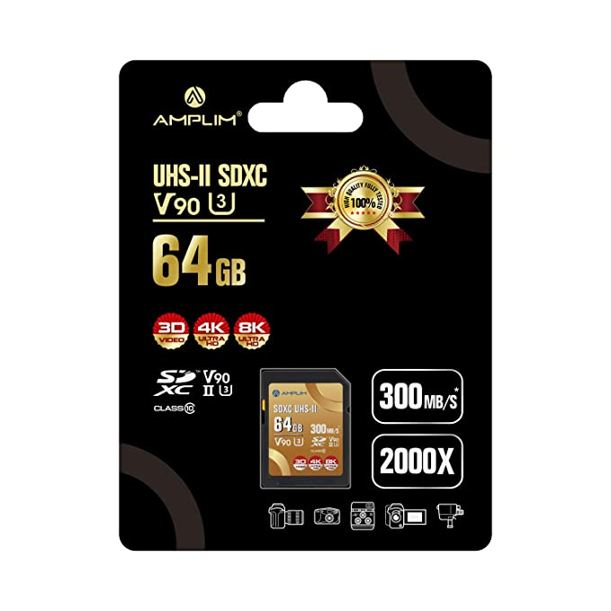 64GB UHS-II V90 SDXC SD Card - Amplim Blazing Fast 300MB/s (2000X) UHSII U3 Extreme High Speed 64 GB SD XC Memory Card for 4K 8K UHD Video Camera ...
