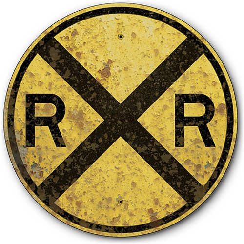 Railroad Train Crossing Tin Metal Warning Sign, Reproduction of Rusted 1935 Vintage Sign :: 14 inches diameter [AYY018] (Vintage Railroad Signs)