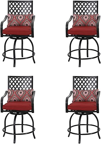 PHI VILLA Coating Old Craft Patio Swivel Height Bar Stools Armrest Chairs Set of 4