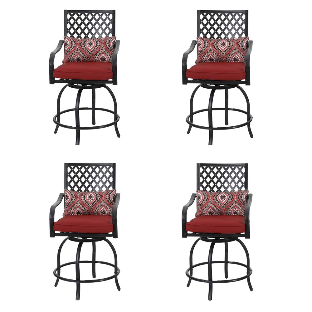 """PHI VILLA Coating Old Craft Patio Swivel Height Bar Stools Armrest Chairs Set of 4-24"""" Seat Height"""