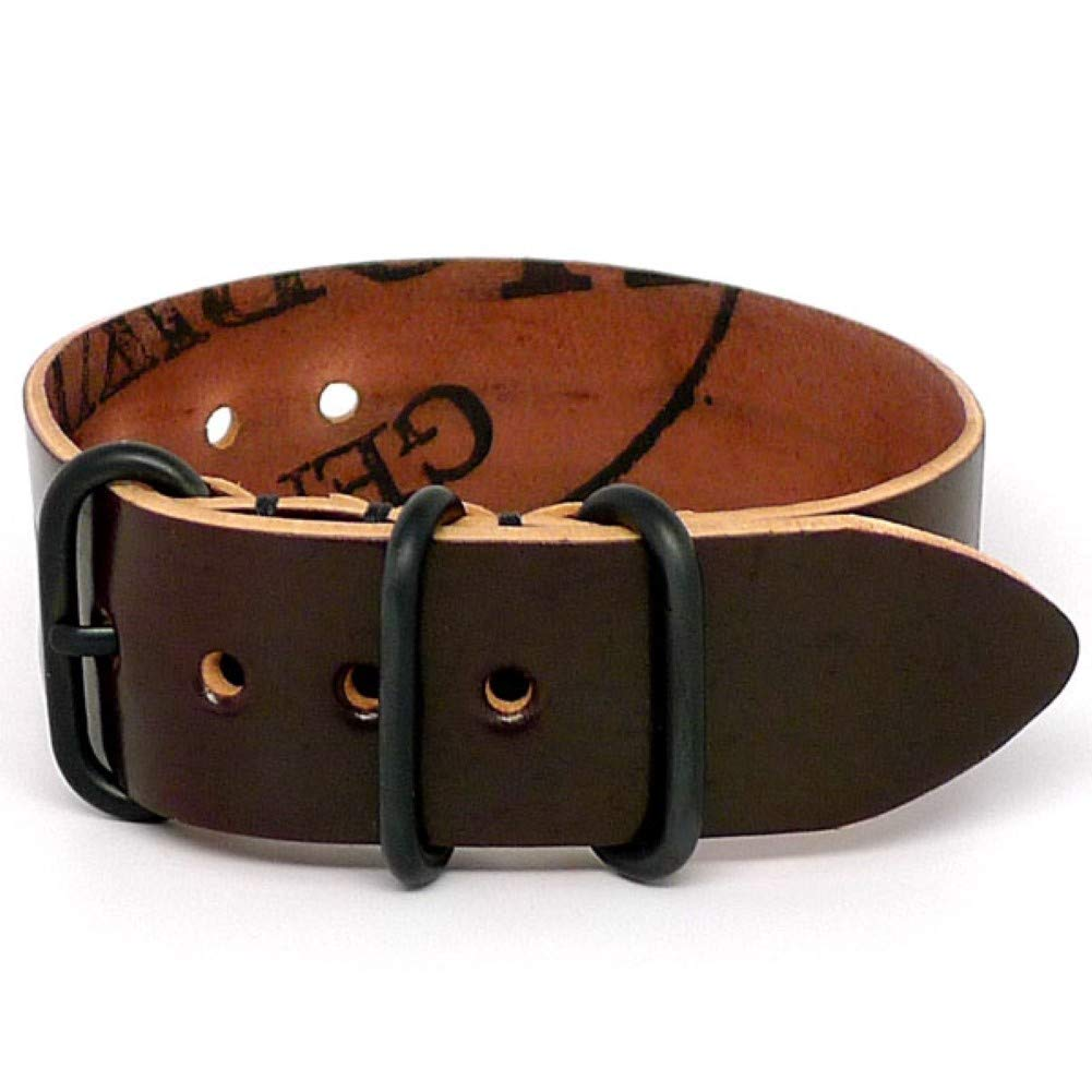 DaLuca Shell Cordovan 1 Piece Military Watch Strap - Color 8 (PVD Buckle) : 20mm by DaLuca