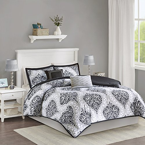 Intelligent Design Senna Comforter Set Twin/Twin XL Size - Black/Gray, Damask – 4 Piece Bed Sets – All Season Ultra Soft Microfiber Teen Bedding - Great For Dorm Room and (Dorm Bedding Sets)