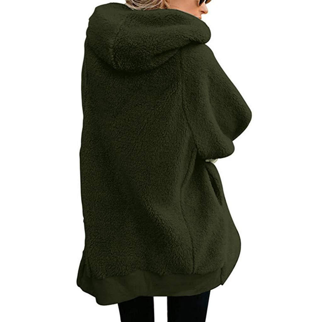 Manteau à Capuche FNKDOR en Laine Chaud éPais Hiver Vestes Hooded Zippé Polaire Oversize Cardigans Casual Couleur Unie Outercoat Vert