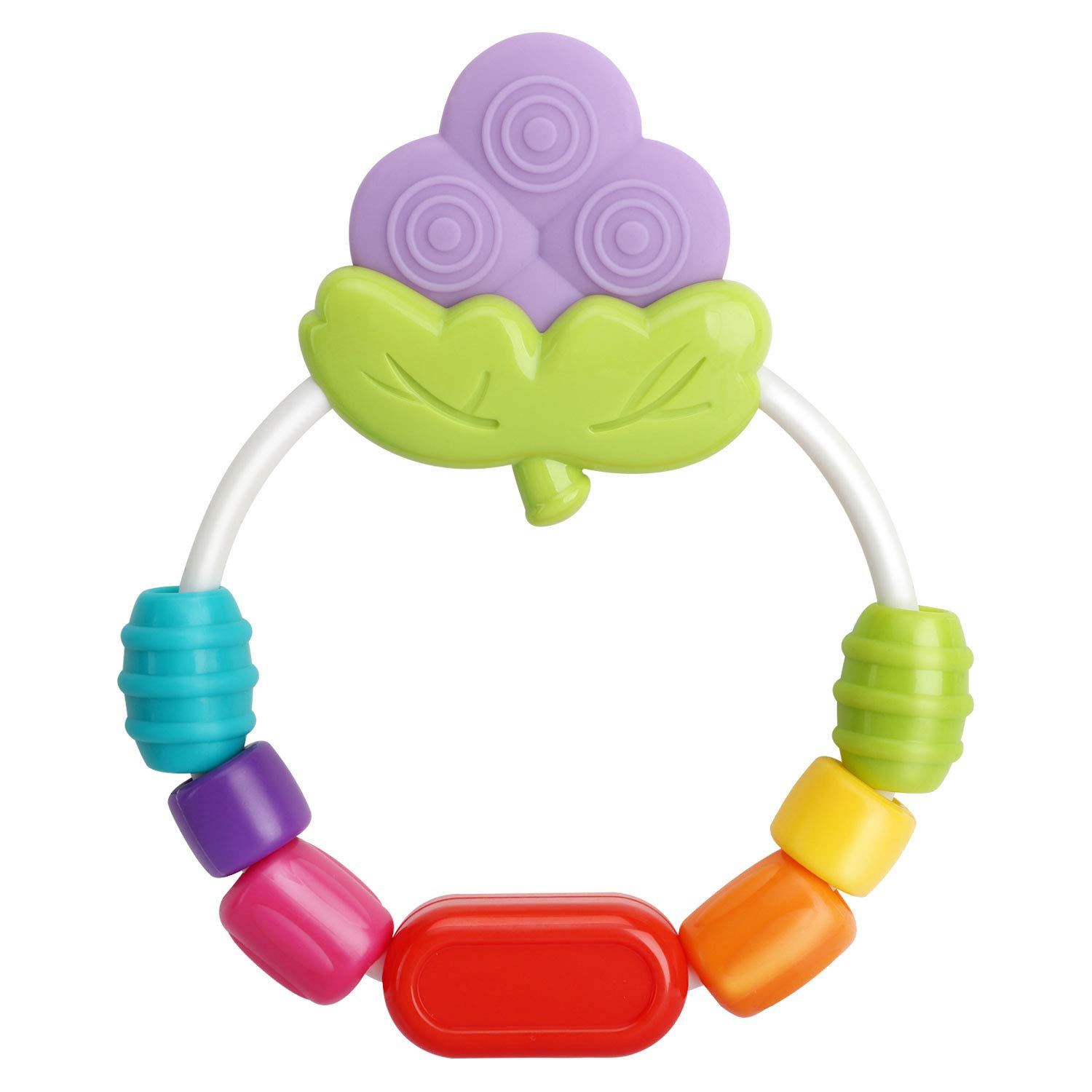 Easy to Hold Turnable Beaded Teether Toy for Infants and Toddlers Zooawa Baby Teether BPA-Free Soft and Soothing Ice Cream Teething Toys