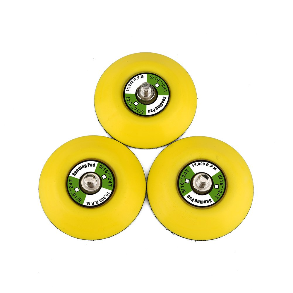 Ouya 3PCS 3' Hook and Loop Backing Pads 5/16'-24 Threads Polishing Buffing Plate for Dual Action Car Polisher backing pads-3N