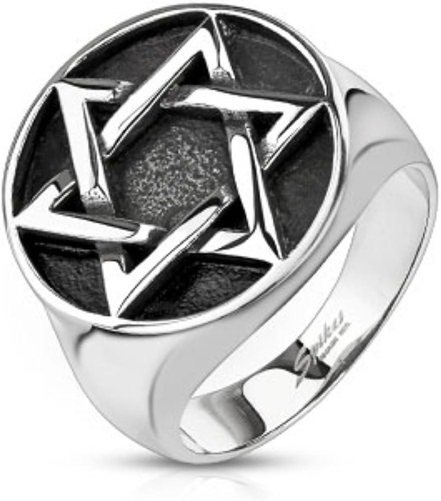 1 Pc Stainless Steel Star of David Medallion Cast Ring Band Men/'s Ring Sz9~14