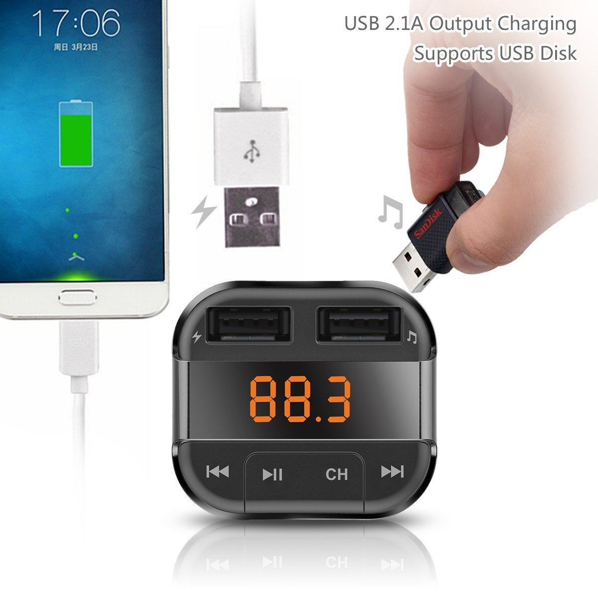Perbeat Car Bluetooth FM transmitter for iPhone/Android with MP3 Music controls. Dual USB Charging ports. Supports USB/Micro SD card. Hands Free Remote control BT10 Black by Perbeat (Image #3)