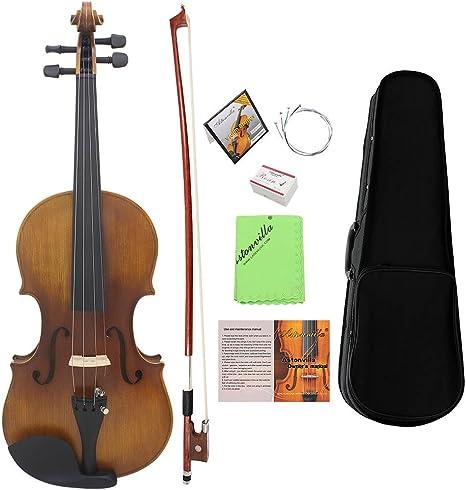 ammoon 4/4 Violín de Tamaño Completo Fiddle Acabado Mate Tablero de la Cara del Abeto Diapasón de Ébano Instrumento de 4 Cuerdas con Estuche Rígido Arco Colofonia Paño Limpia (#1): Amazon.es: Instrumentos musicales