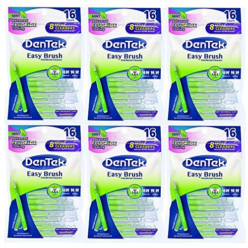 Dentek Easy Brush Extra Tight Interdental Cleaners Mint, 16 Per Bag, 6 Bags Total (Cleaners Brush Dentek Easy)