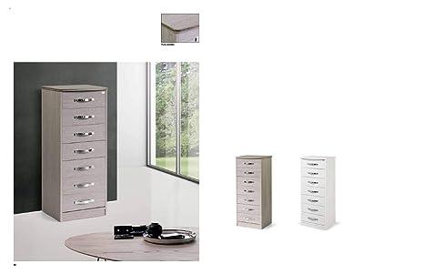Legno Bianco Frassinato : Homeandgardenline settimino cassetti in legno nobilitato gia