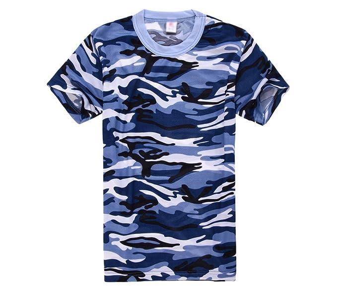Xinwcanga Unisex Casual Camiseta de Camuflaje Deportiva Camisa de Manga Corta de Militares Camisetas Slim Fit