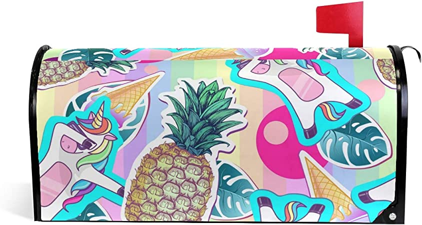 Amazon Com Wihve Cute Unicorn Dabbing Pineapple Tropical Leafs Magnetic Mailbox Covers Large Mail Box Wraps Garden Outdoor