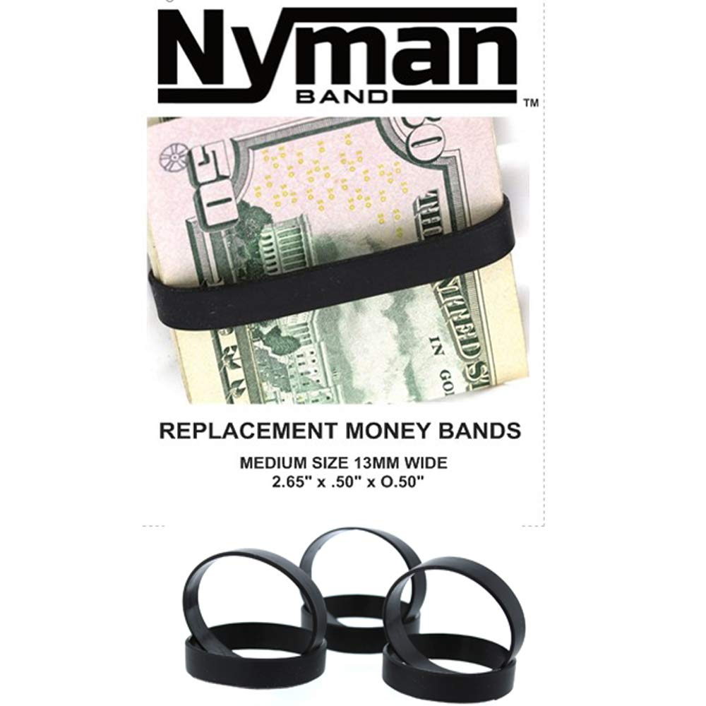 DiamondJewelryNY Money Band, 3 Elastic Rubber Bands to Secure Your Money, Credit Cards (Black)