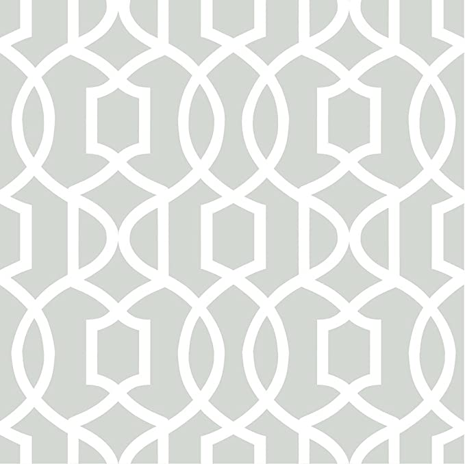 Wallpops Geometric Grand Trellis Peel and Stick Gray White NU Wallpaper Gray