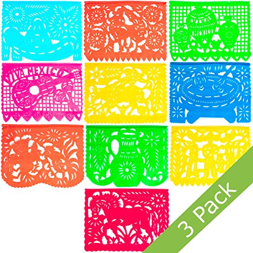 Large Plastic Papel Picado Banner - 15 Feet Long - Two Designs to choose from (3 Pack, Mexico Querido) (Yards Flag Banner)