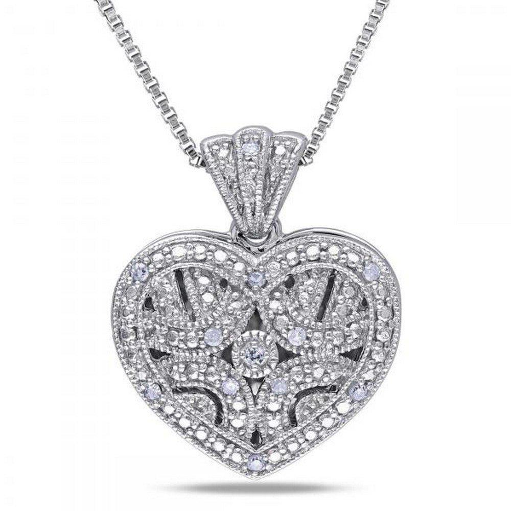 Vintage Diamond Heart Locket Necklace Set in Sterling Silver 0.06ct