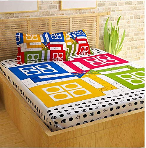 SKHD Ludo Double Bedsheet with 2 Pillow Cover or 1 Dice and 16 Gotti (Multicolor, Size 90 X 100 inches)...