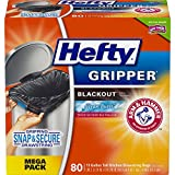 Hefty Gripper Blackout Trash/Garbage Bags (Clean Burst, Odor Control, Kitchen Drawstring, 13 Gallon, 80 Count)