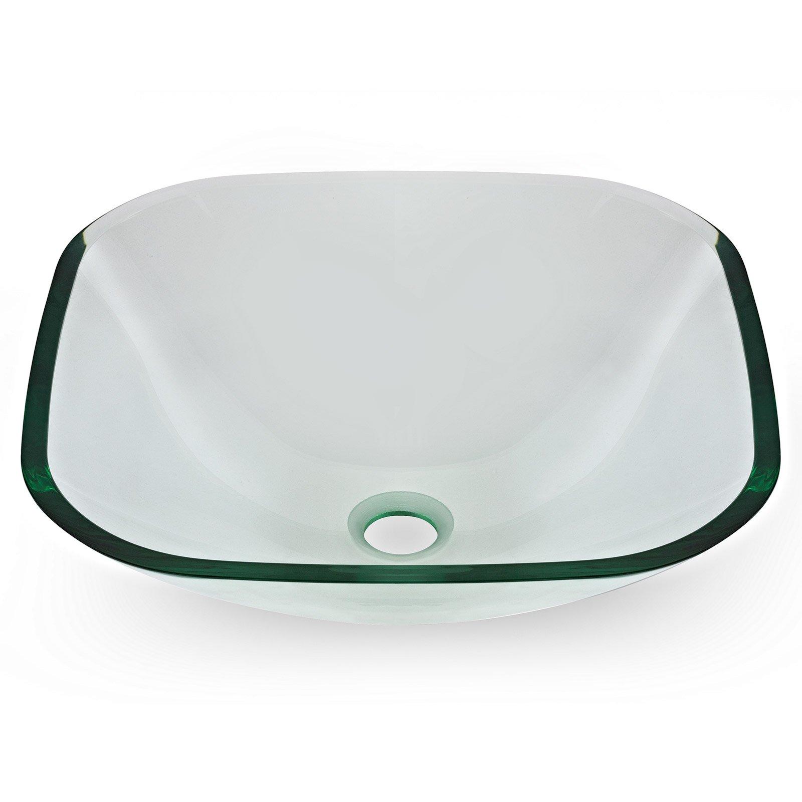 Miligoré Modern Glass Vessel Sink - Above Counter Bathroom Vanity Basin Bowl - Square Clear